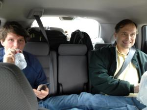 In the car with my dad the day after the 2012 Rocky Raccoon, my first 100 miler. Unfortunately, I inherited his serial killer mug. Notice the Razr flip phone. I've since upgraded to a Target flip phone.
