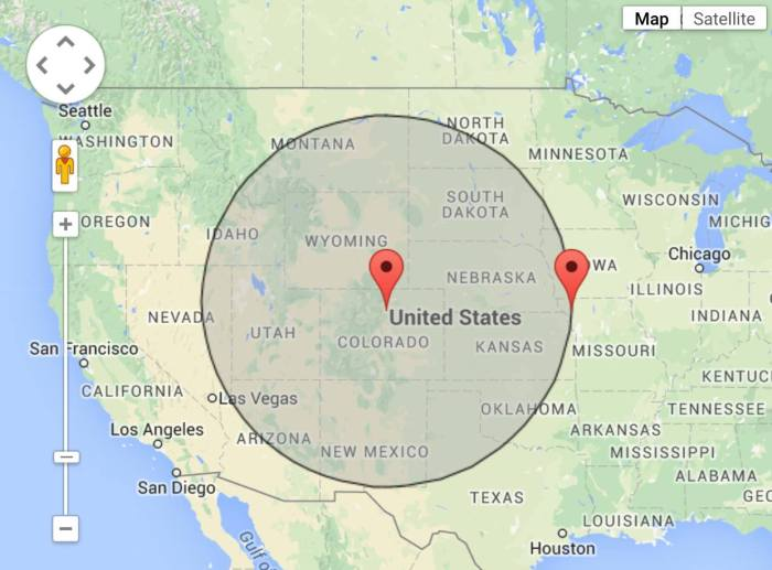 551 mile radius centered on Boulder, Colorado.  I'd like to think I'd keep running to avoid being stuck in Missouri.  (Credit: Phil Armitage)